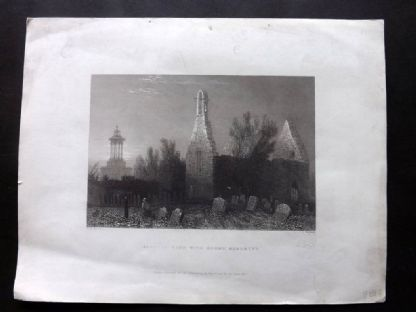 Bartlett Scotland 1838 Antique Print. Alloway Kirk with Burns' Monument